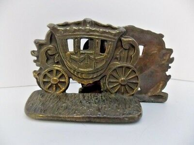 Antique Bronze Plated Cast Iron Carriage Bookends Great Historical Collectible