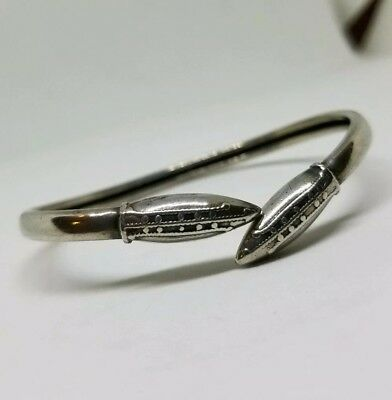 Antique Vtg Victorian Sterling Silver Snake Bypass Cuff Bracelet Size SMALL.