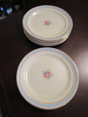 VINTAGE TAYLOR SMITH & TAYLOR USA FLORAL 7 DINNER PLATES RIMMED gold and blue