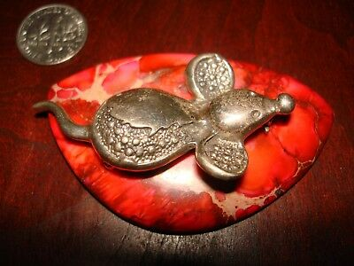 """Stunning Vintage Sterling Silver Brooch/Pin """"Mouse"""".925"""