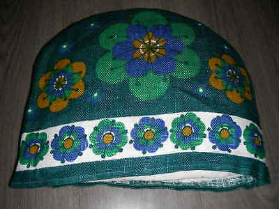 Vintage 60s 70s linen green blue flower power tea cozy