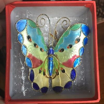 NEW Cloisonne Butterfly Hanging Ornament Alzheimer's memory Gift box Christmas