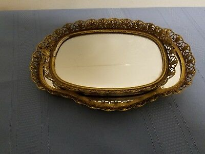 Vintage Lot of 2 Small  Matching Vanity Mirror Trays