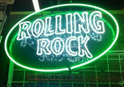 "LARGE Rolling Rock  NEON SIGN TESTED WORKS WELL APRROX 30""x24"",MANCAVE ITEM LOOK"