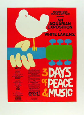 Official Woodstock Poster Hand-signed in pencil by Arnold Skolnick Lithograph