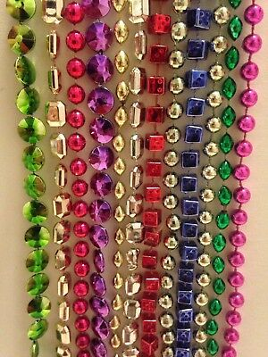 1 Dozen Assorted Color And Shapes Party Bead Necklace 12 Spring Break Mardi Gras
