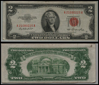 1953 $2 Dollar  Us Note Legal Tender Paper Money Currency Red Seal V441