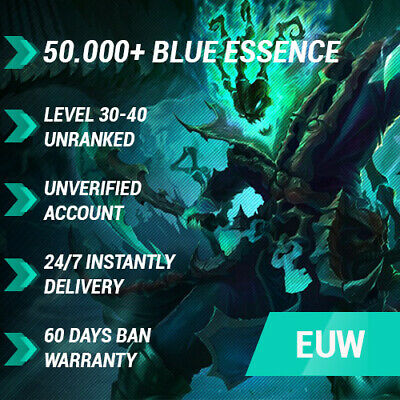 League of Legends LoL EUW Account 40000 49000 BE IP Smurf Unranked 30+ level PC
