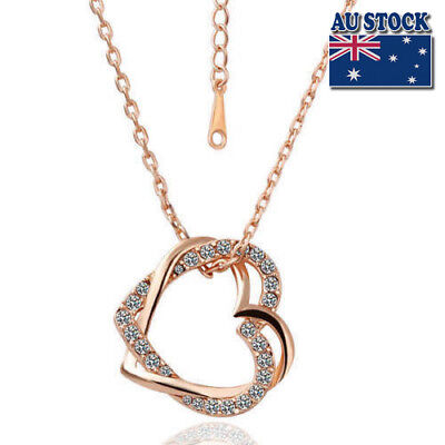 New Fashion 18K Rose Gold Filled Women's Heart Pendant Necklace With Crystal