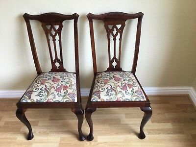 Chippendale dining chairs antique mahogany pair