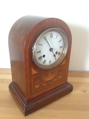 Stunning Antique Edwardian Mahogany Domed Inlaid Striking Mantle / Bracket Clock