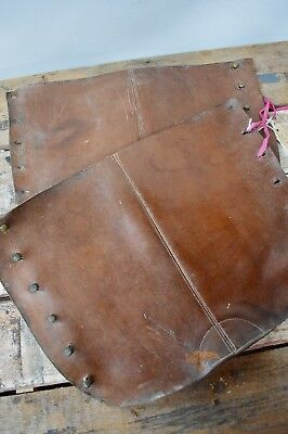 Antique Leather & Brass Military Gaiters Half Chaps Gamekeepers Spats