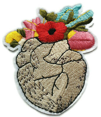 Frida Kahlo Flowers Heart Iron On Embroidered Patch Applique Mexico Art (A31)
