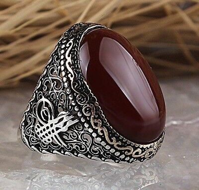 Turkish 925 Sterling Silver islamic agate aqeeq stone Mens mans ring ALL SİZE us