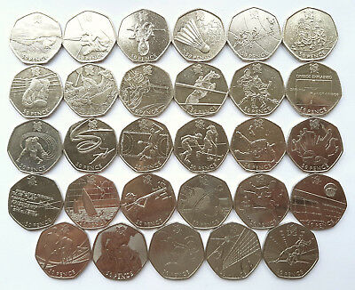 2012 50p London Olympics Rare Fifty Pence Coins VGC