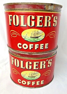 2 Vintage 1946 Tins Folger's Cans Vintage Advertising Great Coffee House Decor