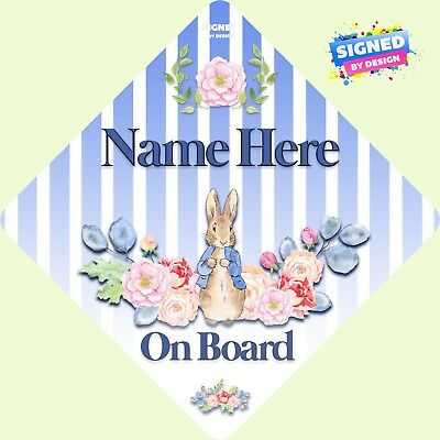 Personalised Peter Rabbit Floral Child/Baby on Board Car Sign New ~ Soft Blue