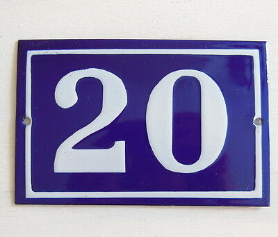 OLD FRENCH HOUSE NUMBER SIGN door gate PLATE PLAQUE Enamel steel metal 20 Blue