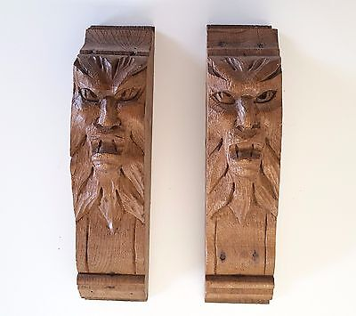 ANTIQUE FRENCH CARVED WOOD FURNITURE DECORATION BRACKET x 2 Evil
