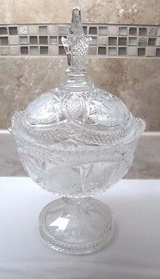 Gorgeous Antique Etched Glass Compote Or Candy Dish - Clear Crystal - Daisy?