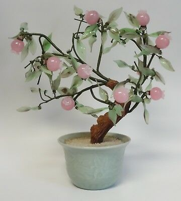 Vintage Asian Bonsai Tree Peking Glass Wire Posable Pink Cherry Fruit Figurine