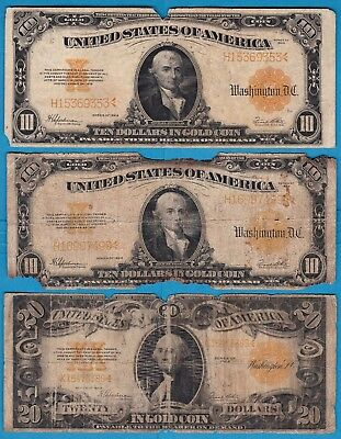 ***SET OF THREE GOLD CERTIFICATES*** Two 1922 $10 notes & One 1922 $20 Note!
