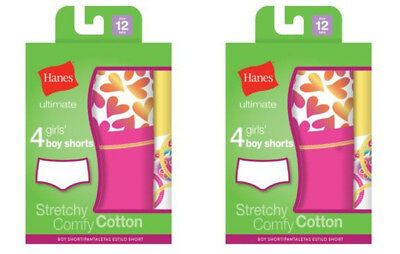 8Pk Girls Hanes Ultimate Cotton Stretch Boy Shorts Panties - Assorted Colors