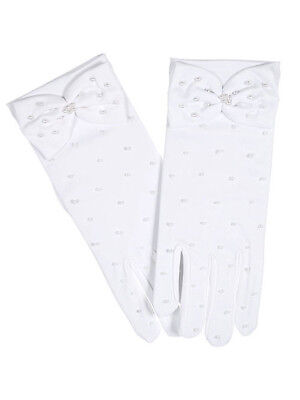 """The Communion Collection """"Pearly Bow"""" Gloves (Size 7 - 12)"""
