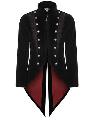 Punk Rave Mens Gothic Tailcoat Jacket Black Velvet Steampunk Vampire Swallowtail