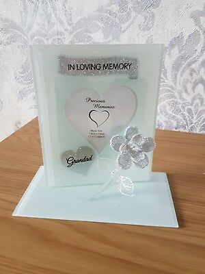 Grandad Memorial Ornament Remembrance Glass Glitter Rose Photo Frame