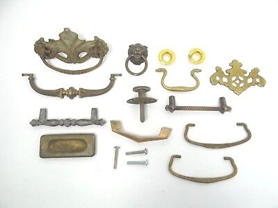 Mixed Antique & Vintage Lot Used Brass Metal Door Cabinet Dresser Pulls Handles