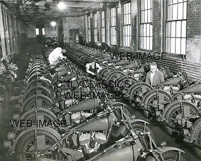 Wwii Rows Of New Army Military Indian Scout Motorcycle-S Company Mfg 8X10 Photo