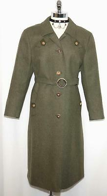 LODEN Boiled WOOL Trench OVER COAT Jacket German W/BELT Trachten WINTER 16 L