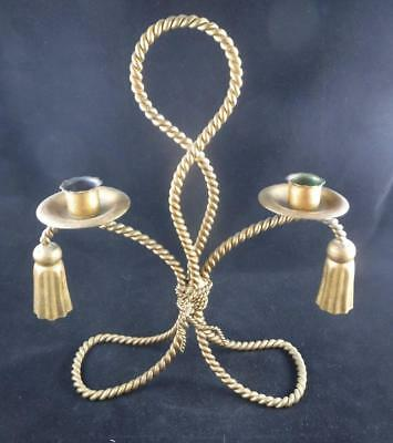 Antique Ornate Brass Metal Rope Handmade Candle Holder for 2 Candles OOAK