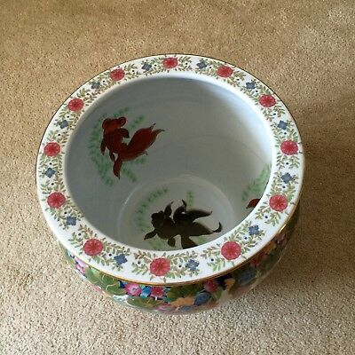 Chinese Large Fish Bowl Planter Floral Asian Porcelain 11 5 X 9 5