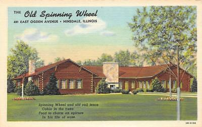 OLD SPINNING WHEEL Hinsdale, Illiniois Roadside Restaurant c1940s Linen Postcard