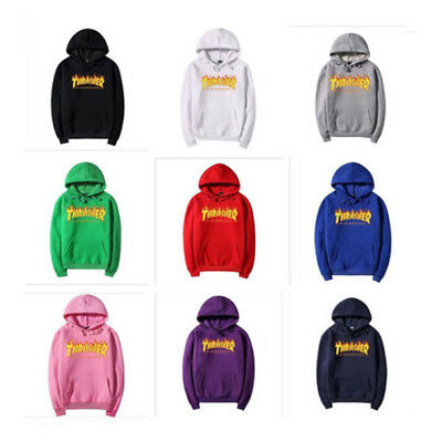 Thrasher Logo Men and Women with the Flame Fleece Hoodies Couple Tops Clothing