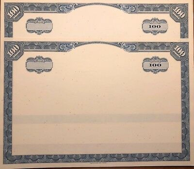 RARE American Bank Note Company Stock Certificate Bordered Blanks Set of 2