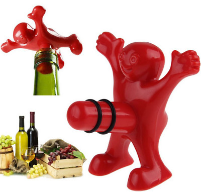Funny Happy Little Red Man Wine Bottle Stopper Novelty Drinking Gift Bar Tools