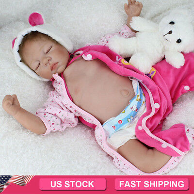 "22"" Reborn Dolls Lifelike sleeping Newborn Babies Vinyl Silicone Belly Baby Doll"