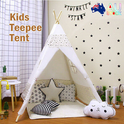 Large Kids Teepee Tent Children Home Canvas Pretend Play Tipi Outdoor Indoor AU