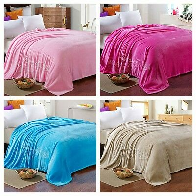 Solid Soft Flannel Thin Blanket Throw Rug Queen/King/Double/Single Bed Linen New