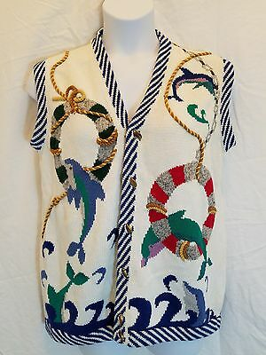 "VTG Jack B Quick Womens Medium Dolphin Nautical Ocean ""Ugly"" Button Sweater Vest"