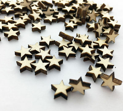 Popular 100pcs Wooden Blank Small Star Shapes Embellishments Crafts OH