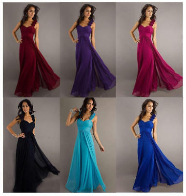 New Formal Chiffon Long Evening Ball Gown Party Prom Wedding Bridesmaid Dress UK