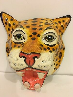 Vintage Paper Mache Handmade Lifesize Leopard Jaguar Head Mask Wall Art Hanging