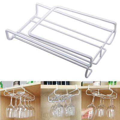 1* Metal Wine Glass Rack Under Cabinet Hanger Stemware Holder Organizer GK1