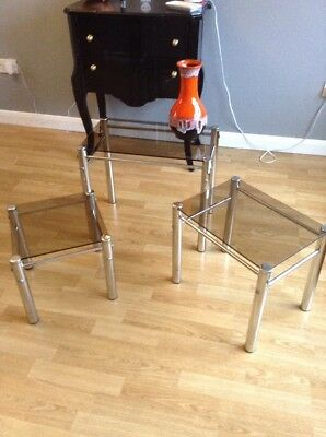 mid century 1960 1970 Stunning Trio Of Crome And Tinted Glass Side Tables Oigina