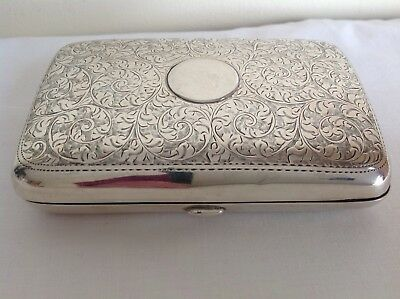 Vintage Sterling Solid Silver Hallmarked Cigar Case By William Neale 1911