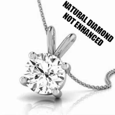 1/2 ct D VS2 NATURAL CLARITY REAL DIAMOND SOLITAIRE PENDANT 14K WHITE GOLD